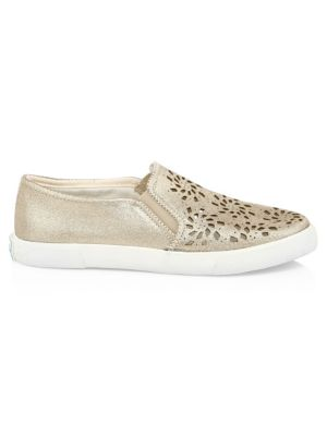 Violet Leather Slip-On Sneakers, Platinum