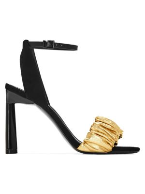 Ruched Leather Ankle Strap Sandals by Mercedes Castillo