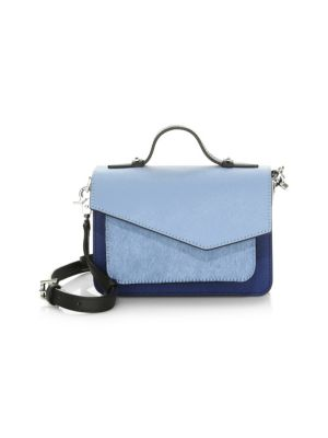 Mini Cobble Hill Calfskin Leather Crossbody Bag - Blue, Sky Haircalf