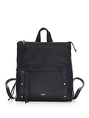 "Image of Contemporary leather backpack finished with silvertone hardware Top handle Adjustable backpack straps, 13"" drop Zip top Silvertone hardware One interior zip pocket One slip pocket Two card slots Two outside zip pockets Dust bag included Lined Leather 12"""