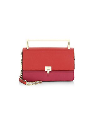 "Image of Colorblock design adorns this sleek petite crossbody Top handle, about 1"" drop Chain crossbody strap, about 22"" drop Foldover flap with turn-lock closure Interior divided zip compartment Two interior open pockets Two interior card slots 8""W x 5""H x 2.5""D"