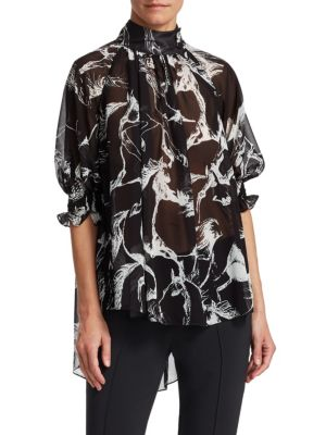 Mock-Neck Pouf-Sleeve Abstract-Print High-Low Chiffon Blouse, Black Pony