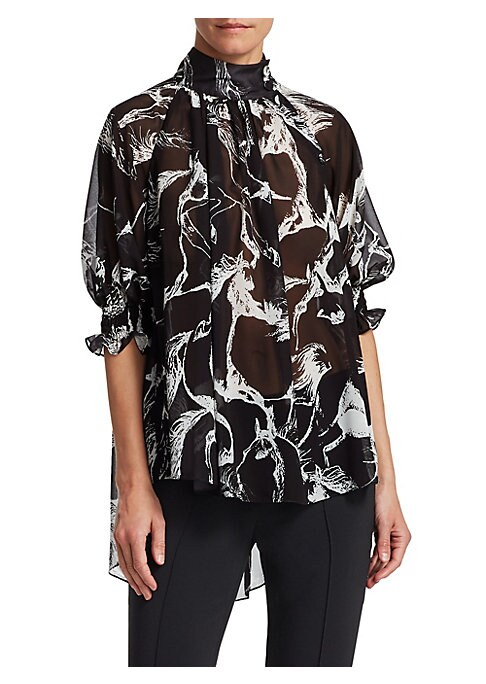 Image of Made from airy pebbled chiffon, this flowing top features an equestrian print as a nod to the brand's American sportswear influences. Buttoned mockneck. Smocked elbow sleeves. Concealed back zip closure. Gathered back yoke. Polyester. Dry clean. Made in U