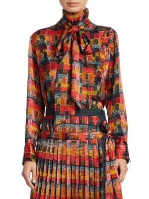 ADAM LIPPES Button-Front Long-Sleeve Printed Blouse W/ Detachable Scarf, Red-Multi