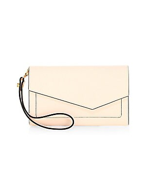"""Image of Crosshatch leather envelope clutch with contrasting edge Magnetic flap closure Front slip pocket Two compartments Zip pocket 6 cardholder slots Interior slip pocket 4.5"""" x 3"""" x 1"""" Leather Imported. Handbags - Contemporary Handbags > Saks Fifth Avenue. Bot"""