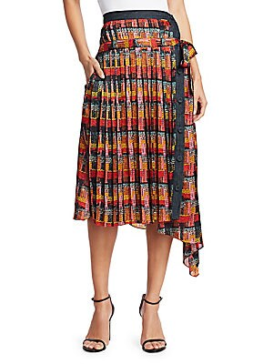 Image of This bohemian wrap dress features a vibrant geometric print. Asymmetric in its silhouette, this piece is a contemporary amalgamation with its functional button closure. Belt loops Banded waist Self-tie waist Asymmetric button front Side seam pockets Asymm