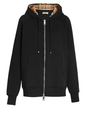 Check-Lined Zip-Front Hoodie Jacket, Black
