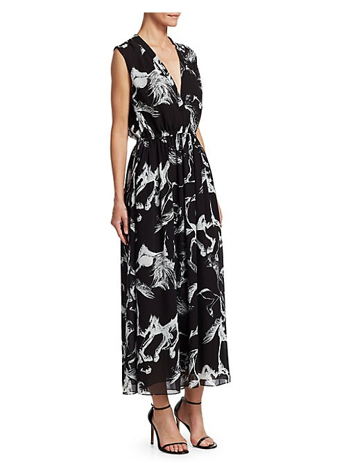"""Image of Made from a airy pebbled chiffon, this flowing midi dress features an equestrian print as a nod to the brand's American sportswear influences.V-neck. Sleeveless. Drawstring side-tie waist. Polyester. Dry clean. Made in USA. SIZE & FIT. About 56"""" from shou"""