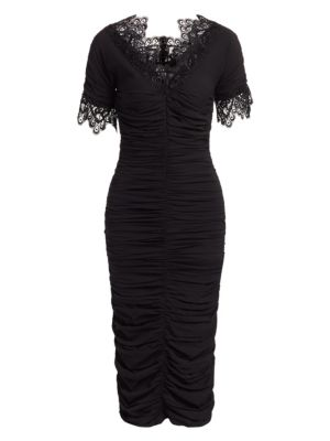 Crocheted Lace-Trimmed Ruched Silk-Blend Georgette Dress, Black