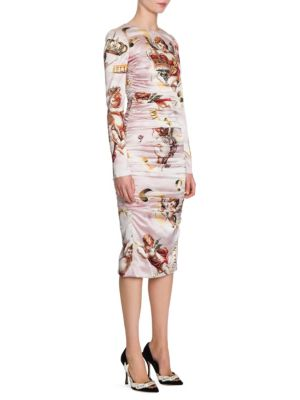 Cherub Print Satin Bodycon Dress, Pink