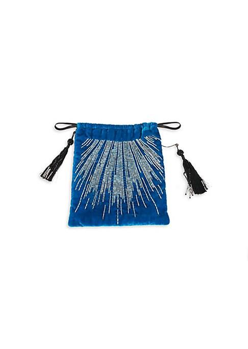 "Image of Exuberant burst of sequins and glass beads on plush velvet tassel backpack. Drawstring closure. Double shoulder straps, each 11.5"" drop.8.25""W x 10.25""H.Viscose/polyamide. Imported."