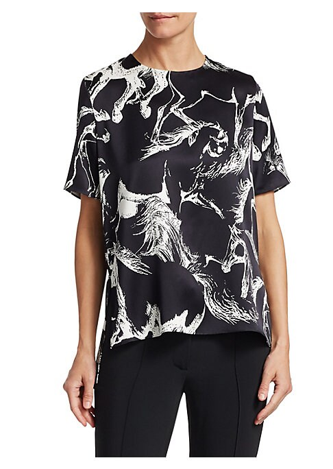 Image of Cut from lustrous silk charmeuse, this understated silhouette is features an equestrian print as a nod to the brand's American sportswear influences. Roundneck. Short sleeves. Back button closure. Back inverted pleat. Silk. Dry clean. Made in USA. SIZE &