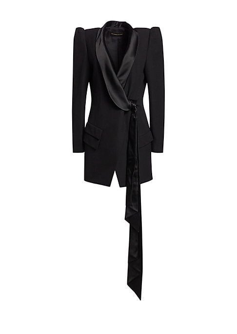 Image of A slouchy shawl collar extends into a swinging scarf tie on this tuxedo blazer mini dress. Voluminous puff sleeves add drama to the silhouette. Shawl collar. Long sleeves. Self-tie at front. Waist flap pockets. Lined. Wool/acetate/viscose. Dry clean. Made