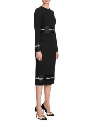 Jewel-Neck Long-Sleeve Wool Fitted Sheath Dress W/ Ribbon Trim, Black