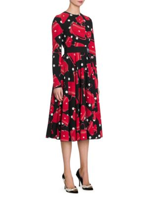 DOLCE & GABBANA Printed Stretch-Silk Chiffon Midi Dress, Black
