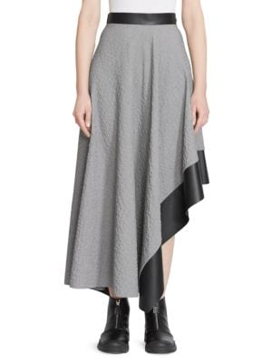 Asymmetric Woven And Leather Midi Skirt, Black White