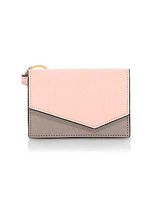 "Image of Crosshatch leather clutch with bold colorblock panels Magnetic flap closure Interior slip pocket 4.5"" x 3"" x 1"" Leather Imported. Handbags - Contemporary Handbags. Botkier New York. Color: Peach."
