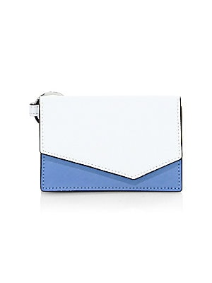 "Image of Crosshatch leather clutch with bold colorblock panels Magnetic flap closure Interior slip pocket 4.5"" x 3"" x 1"" Leather Imported. Handbags - Contemporary Handbags > Saks Fifth Avenue. Botkier New York. Color: Sky."