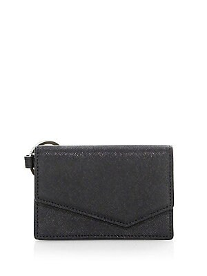 "Image of Crosshatch leather clutch with polished finish Magnetic flap closure Interior slip pocket 4.5"" x 3"" x 1"" Leather Imported. Handbags - Contemporary Handbags. Botkier New York. Color: Black."