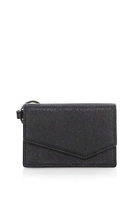 "Image of Crosshatch leather clutch with polished finish. Magnetic flap closure. Interior slip pocket.4.5"" x 3"" x 1"".Leather. Imported."