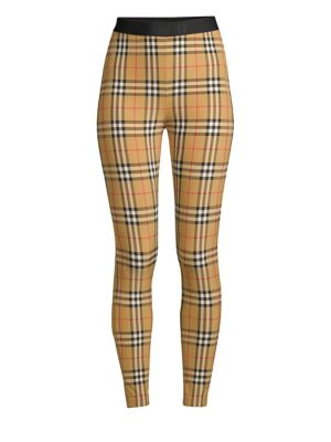 Belvoir Checked Stretch-Jersey Leggings, Antique Yellow