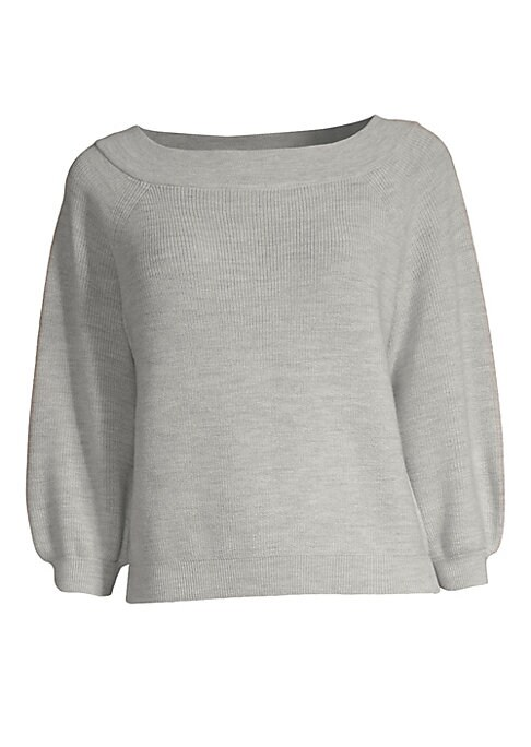 """Image of Bold peasant sleeves accentuate artisanal weave of plush sweater. Boatneck. Three-quarter peasant sleeves. Rib-knit neck, cuffs and hem. Pullover style. Wool/nylon/elastane. Dry clean. Imported. SIZE & FIT. About 21"""" from shoulder to hem. Model shown is 5"""