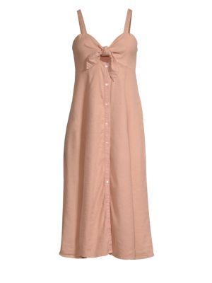 Dahlia Linen Button-Front Slip Dress in Blush