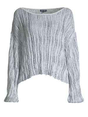 Sierra Madre Blouson-Sleeve Pullover Sweater in Navy