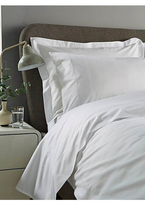"Image of From the Epoch Collection. Timeless, crisp cotton percale duvet cover with embroidered detail. Cotton. Machine wash. Imported. SIZING. Queen: 90""W x 96""L.King: 108""W x 96""L."
