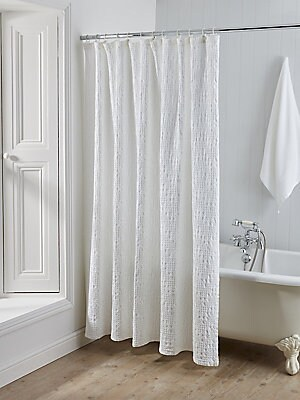 Image of From the Arlington Collection. This cotton shower curtain will bring a touch of spa-like elegance to your home with its intricate matelasse jacquard detailing in crisp white. Cotton Machine wash Imported. Gifts - Bed And Bath. Christy. Color: White. Size: