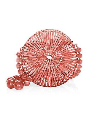 """Image of Acrylic pinwheel clutch with a structured cage design. Top magnetic clasp Acrylic Imported SIZE 8"""" L X 8"""" H X 3"""" D. Handbags - Contemporary Handbags. Cult Gaia. Color: Cherry."""