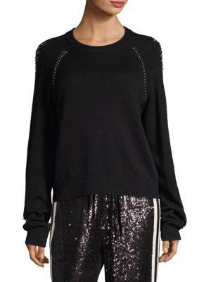 Long Sleeve Pierced Knit Top, Black