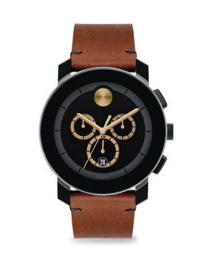 Men'S Bold Tr-90 Chronograph Watch With Leather Strap in Cognac/ Black/ Black