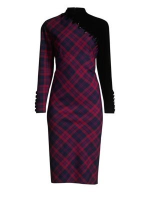 Check Print Embroidered Wool Sheath Dress by Marc Jacobs