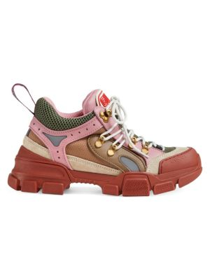Flashtrek Logo-Embossed Leather, Suede And Mesh Sneakers, Brown And Pink Leather