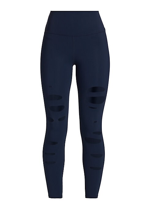 "Image of Edgy cut-out leggings in high-waisted style. Banded waist. Seamed detail. Rise, about 11"".Inseam, about 24"".Leg opening, about 8"".Polyester/spandex. Machine wash. Imported. Model shown is 5'10"" (177cm) wearing US size Small."