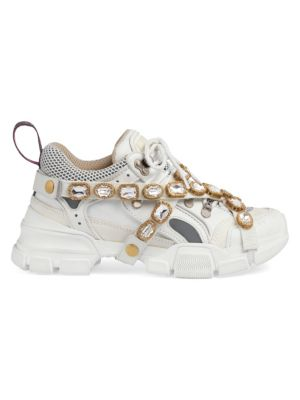 Flashtrek Embellished Logo-Embossed Leather, Suede And Mesh Sneakers, White Leather