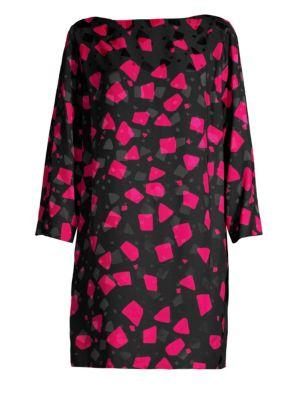 Printed Crepe-Jacquard Mini Dress, Fuchsia Multi