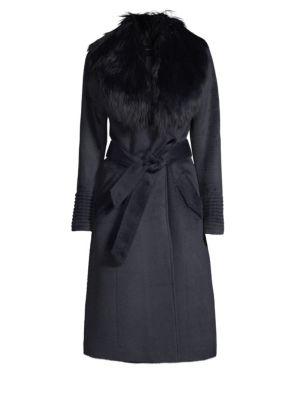 Long Fur Collar Alpaca Coat by Sentaler