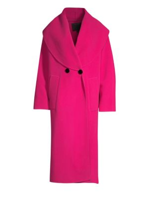 Oversized Double-Breasted Wool Blend Coat, Hot Pink