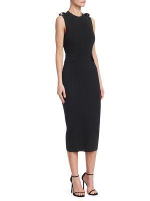 Crewneck Sleeveless Fitted Wool Knit Midi Dress, Black