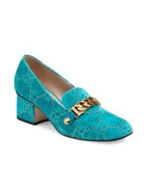 Sylvie Embossed Velvet Pumps - Turquoise Size 7.5
