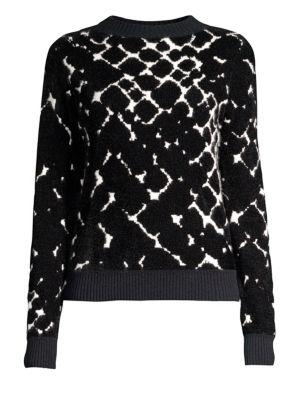 Boulder Print Cashmere Blend Sweater, Ivory Multi