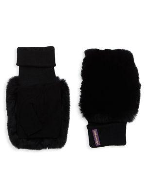 GLAMOURPUSS Fingerless Rabbit Fur & Suede Mittens in Black