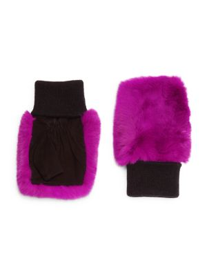 GLAMOURPUSS Fingerless Rabbit-Fur Gloves in Fuchsia