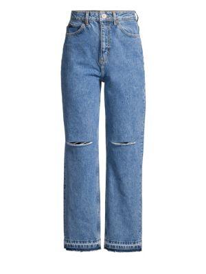Fluffy Distressed Wide-Leg Jeans, Blue Vintage