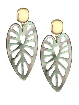 NEST Mother-Of-Pearl & 24K Goldplated Statement Earrings in Multi