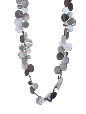 NEST Mother Of Pearl Cluster Necklace in Grey