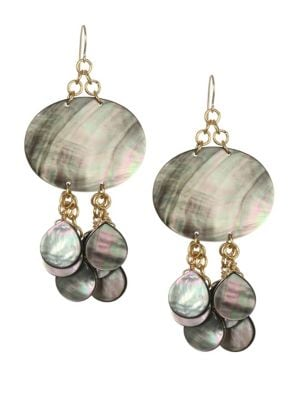 NEST Mother-Of-Pearl & 24K Goldplated Drop Earring in Multi
