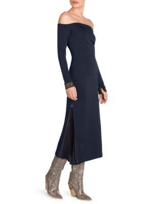 Off-The-Shoulder Long-Sleeve Midi Jersey Dress W/ Pleated Side Detail in Blue